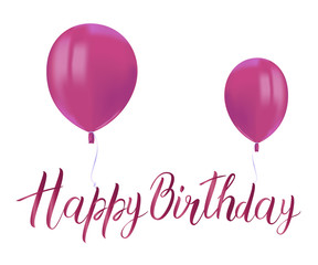 Realistic pink balloons with reflects and inscription HAPPY BIRTHDAY on white background. Festive decor element for Birthday party or balloon greeting card design element. Vector.