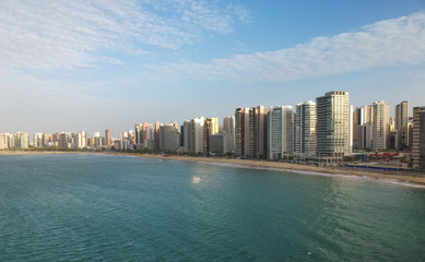 Aerial view of Fortaleza beach skyline, Brazil