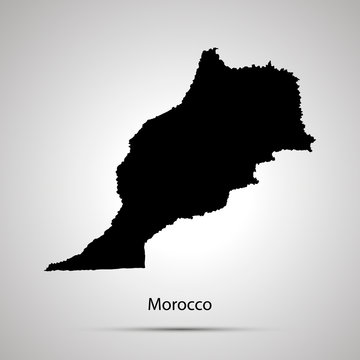 Morocco country map, simple black silhouette on gray