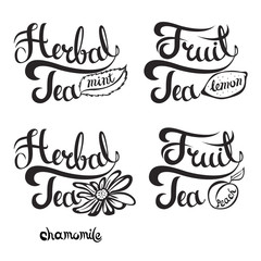 Vector illustration with hand-drawn lettering. Tea time set for prints and posters, menu design, invitation and greeting cards. Calligraphic collection
