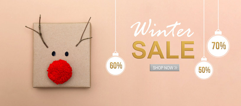 Winter sale message with a red nose reindeer gift box