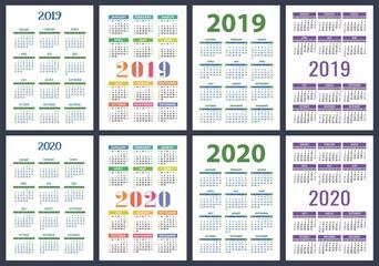 Calendar 2019, 2020 years. Basic vector set. Week starts on Sunday. Design template