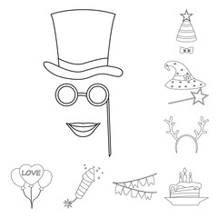 Vector illustration of party and birthday logo. Collection of party and celebration vector icon for stock.