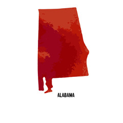 Alabama. United States Of America. Vector illustration. Watercolor texture.