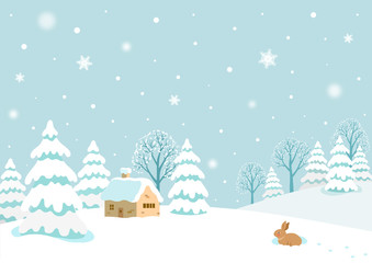 Wall Murals Light blue Winter landscape with rabbit.
