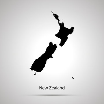 New zealand country map, simple black silhouette on gray