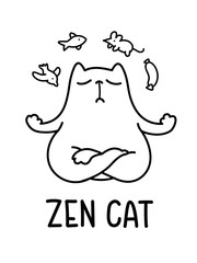 A Black And White Cartoon Vector Illustration Of A Zen Cat Meditating
