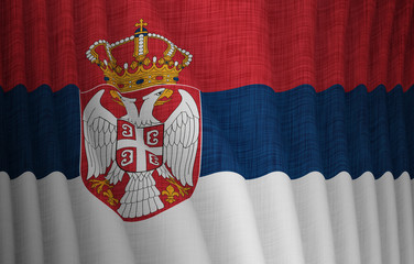 Illustration of a flying Serbian flag