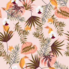 Trendy vector seamless beautiful tropical pattern with exotic forest. Colorful original stylish floral background print, bright rainbow color