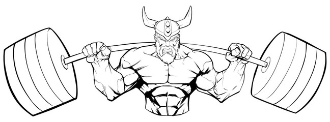 Line art illustration of strong Viking warrior doing squats with a barbell on white background.
