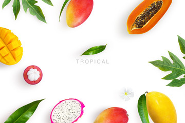 Tropical fruits background. Green palm leaves and tropical fruits isolated on a white background with clipping path