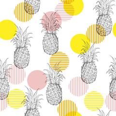 Summer fresh outline pineapple Seamless  pattern with hand drawing  mix with sweet colorful stripe polkadots