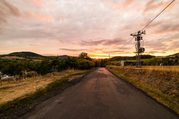 Sunset on village