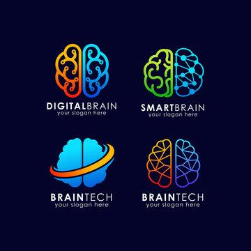 Brain tech logo design. smart brain logo design