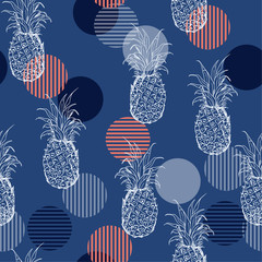 Trendy Summer fresh outline pineapple Seamless  pattern with hand drawing  mix with sweet colorful stripe polka dots