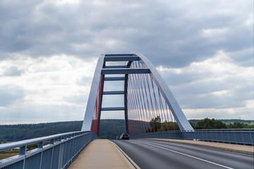 Blue Bridge over Main located Niedernberg-Sulzbach