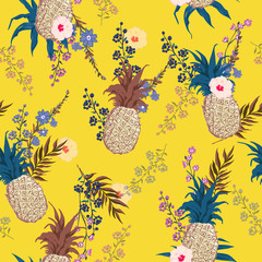 Summer seamless vector floral print pattern in trendy colorful style, exotic tropical plants and palm leaves fruit pineapple