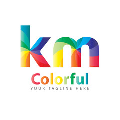 Initial Letter KM Rounded Colorful Design Logo