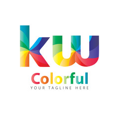 Initial Letter KW Rounded Colorful Design Logo