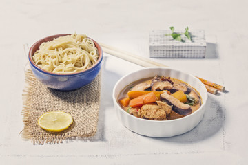 Thai Style Curry Noodles in a Bowl