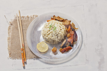Thai Style Noodles and Curry on Plate