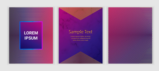 Modern geometric covers with  on the marble texture, fluid elements. Trendy colorful design with lines. Background for banner, poster, flyer, card, placard, party, invite.