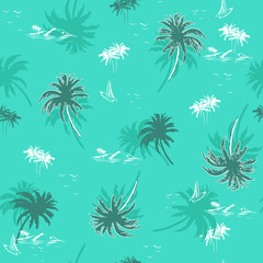Beautiful seamless island pattern on monotone green mint  background for summer vibes . Landscape  palm trees,beach and ocean