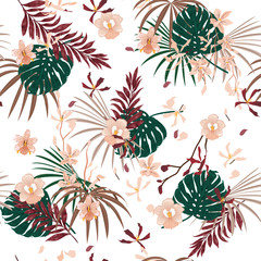Beautiful Bright Tropical with flowers palm leaves,Exotic  leaf seamless vector floral pattern