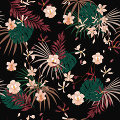 Dark Tropical with flowers palm leaves,Exotic  leaf seamless vector floral pattern