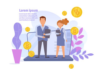 Bitcoin Online earnings. Salary Vector. Cartoon. Isolated art on white background. Flat