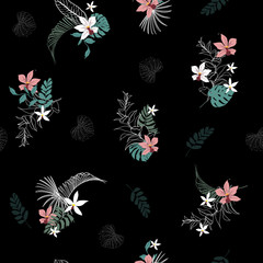 A dark Tropical forest with blooming flowers palm leaves,with outline Exotic  leaves seamless vector floral pattern