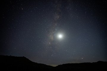 Night sky with stars and the moon, Landscape with Milky way galaxy.