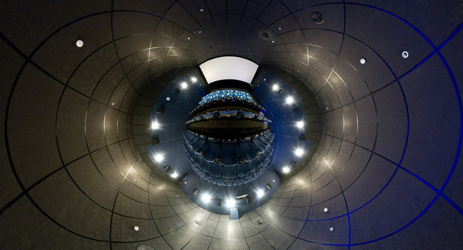 360 degrees panorama of cinema hall, mini planet style