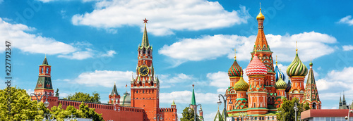 Fototapete Panoramic view of Moscow Kremlin and St Basil's Cathedral in Moscow