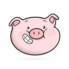 Grinning emoticon icon. Emoji pig is smiling. Vector illustration