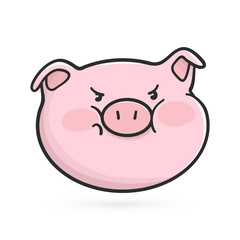 Angry emoticon icon. Emoji pig is in bad mood