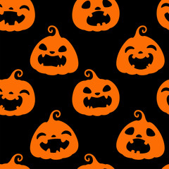 Seamless pattern with orange silhouettes of different Halloween pumpkins on black background. Vector illustration. For scrapbooking, gifts, fabrics, textile, background. Jack head.