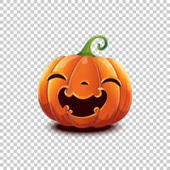 Vector Halloween pumpkin in cartoon style. Smiling happy face Halloween pumpkin isolated on transparent background. Jack head.