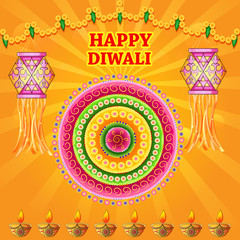 Happy Diwali India festival greeting background in Indian art style