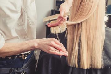 Hairdresser is cutting long hair in hair salon Wall mural