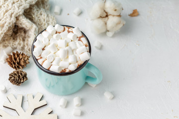 Poster Chocolate Mug of cocoa with marshmallows and winter decor