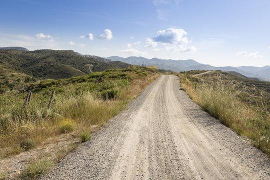 Vereda del Barranco del Abogado mountain pathway next to Dudar, province of Granada, Andalusia, Spain
