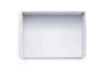 Empty white cardboard isolated on white background