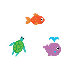 Set of Sea turtle, whale and fish. Vector illustration. Cartoon style.