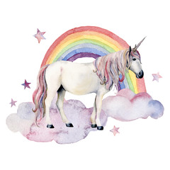 Watercolor fairy tale card witn unicorn, cloud and rainbow. Hand painted unicorn, colorful rainbow and stars isolated on white background. Fantasy illustration for design, print.