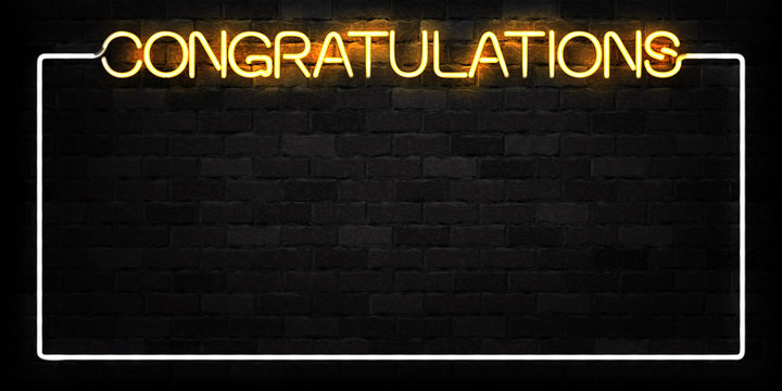 Vector realistic isolated neon sign of Congratulations frame logo for decoration and covering on the wall background.