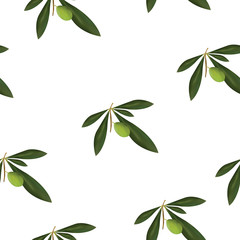 seamless pattern with green olive tree vector - floral pattern