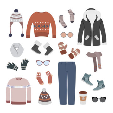 Colorful set of modern and stylish winter women clothing. Vector illustration with jacket, pants, sweaters, winter shoes and accessories.