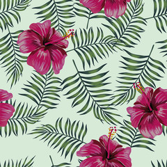 Burgundy hibiscus on the seamless leaves background