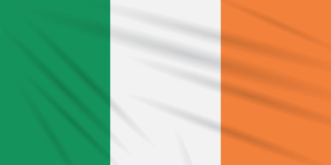 Flag Ireland swaying in the wind, realistic vector